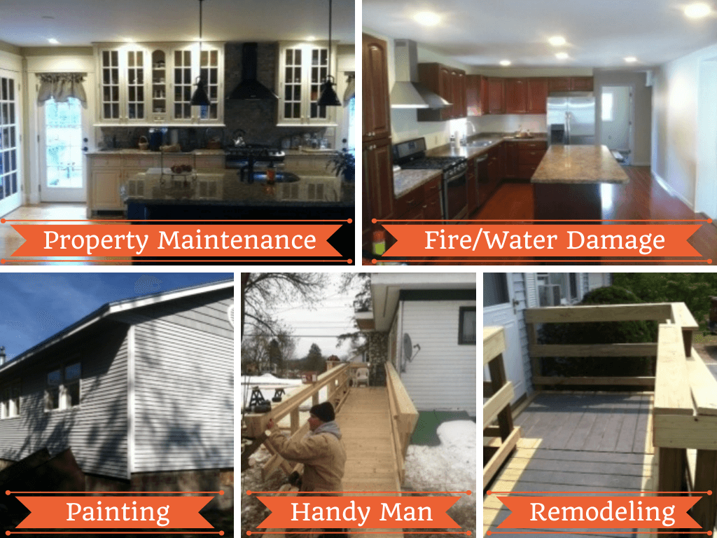 Services include property maintenance, fire & water damage, painting, handy man services and remodeling.